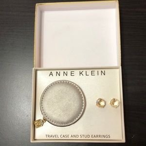 Anne Klein Travel Case And Stud Earrings